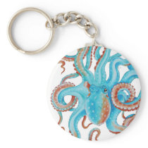 Pale Teal Blue Octopus Watercolor Keychain
