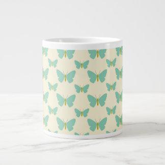 Pale teal green and cream butterflies giant coffee mug
