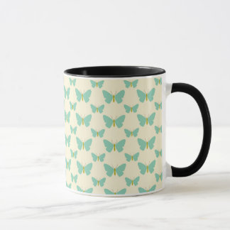 Pale teal green and cream butterflies mug