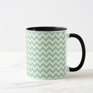 Pale teal green and cream chevron mug