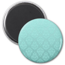 Pale Teal Turquoise Damask Pattern Magnet