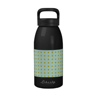 Pale teal with gold polka dots drinking bottle