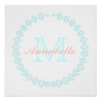 Pale Tropics and Baby Pink Wreath Monogram Poster