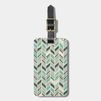 Pale Turquoise and Gray Chevron Luggage Tag
