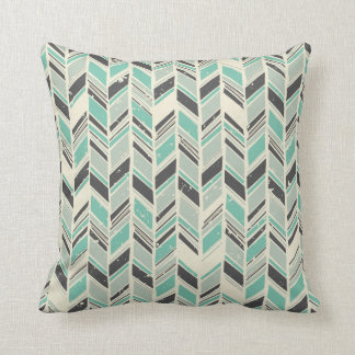Pale Turquoise and Gray Chevron Throw Pillow