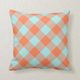 Pale Turquoise Coral Gingham Throw Pillow
