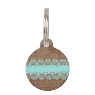 Pale Turquoise Lace against Burlap - Shabby Chic Pet Name Tag