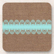 Pale Turquoise Lace against Burlap - Shabby Chic Drink Coaster