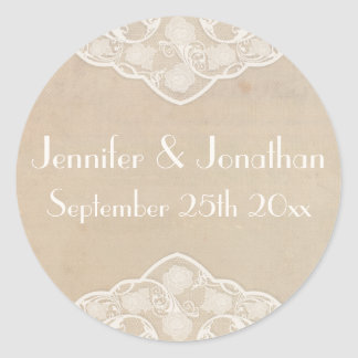 Pale Vintage Canvas n Lace Style Wedding Stickers