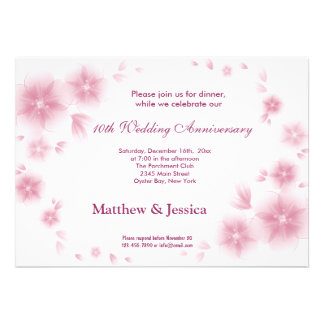 Pale Violet Cherry Blossom Anniversary Personalized Announcements