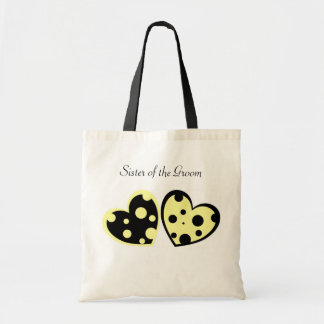 Pale Yellow And Black Hearts Bag