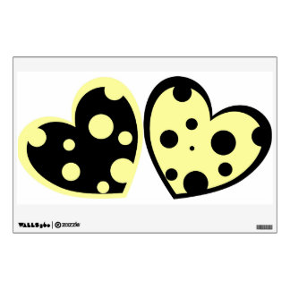 Pale Yellow And Black Hearts Wall Decal