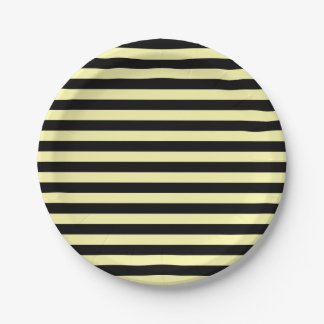 Pale Yellow and Black Stripes Paper Plate