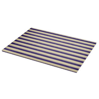 Pale Yellow and blue Beach Stripe Cutting Board