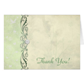 Pale Yellow and Green Floral Wedding Thank You Card