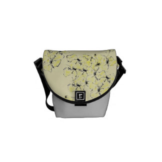 Pale Yellow and Ink Sketch Summer Wild Flowers Messenger Bag