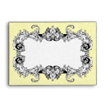 Pale Yellow and White A6 Gothic Baroque Envelopes