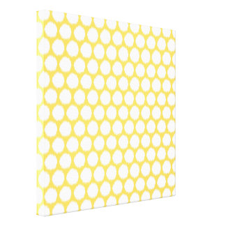 Pale Yellow Asian Moods Ikat Dots Canvas Print