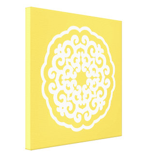 Pale Yellow Asian Moods Mandalla Stretched Canvas Prints