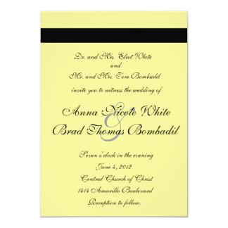 Pale Yellow Calligraphy Lotus Wedding Invitation