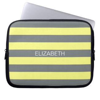 Pale Yellow Charcoal Horiz Preppy Stripe Monogram Computer Sleeve
