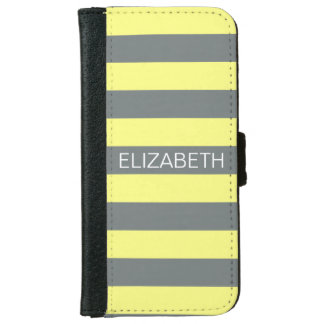 Pale Yellow Charcoal Horiz Preppy Stripe Monogram Wallet Phone Case For iPhone 6/6s