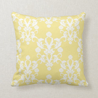 Pale Yellow Damask Vintage Style Shabby Throw Pillow