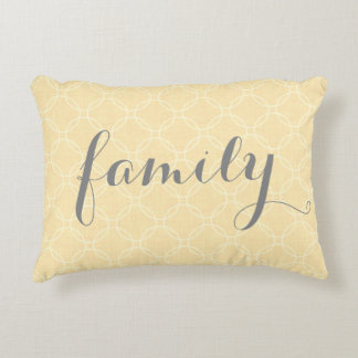 Pale Yellow Family Circle Patter Accent Pillow
