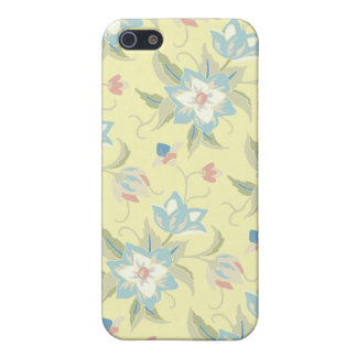 Pale Yellow Floral Cover For iPhone SE/5/5s