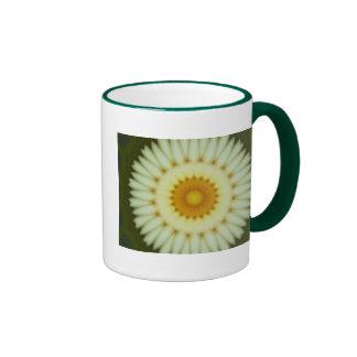 Pale yellow flower fractal design ringer mug