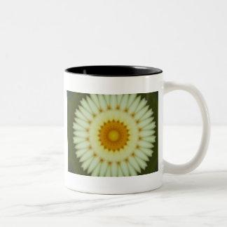 Pale yellow flower fractal design Two-Tone coffee mug