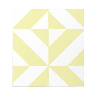 Pale Yellow Geometric Deco Cube Pattern Notepad