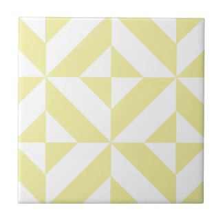 Pale Yellow Geometric Deco Cube Pattern Tile
