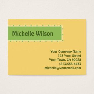 Pale yellow green mod box business card