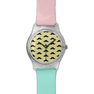 Pale Yellow Mustaches Pattern Wristwatches