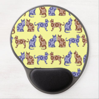 Pale Yellow Paisley Cats Pattern Mousepad Gel Mouse Pad
