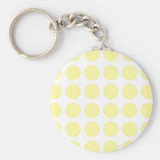 Pale Yellow Polka Dots Basic Round Button Keychain