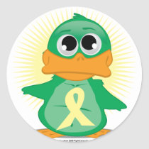 Pale Yellow Ribbon Duck Classic Round Sticker