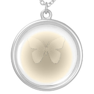 Pale yellow stained glass butterfly on white round pendant necklace