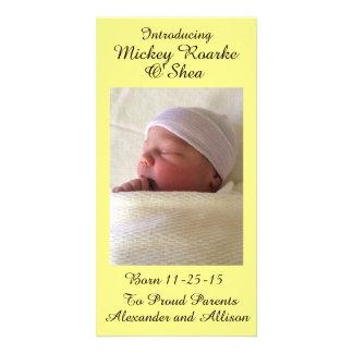 Pale Yellow Swiss Polka Dot Baby Announcement 8x4
