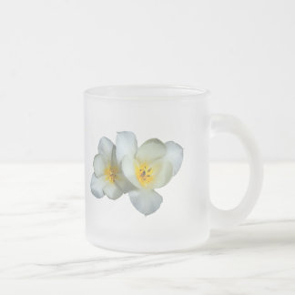 Pale Yellow Tulips After the Rain Frosted Glass Coffee Mug