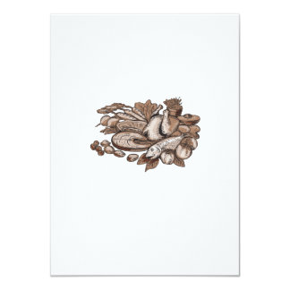 Paleo Diet Etching 4.5x6.25 Paper Invitation Card