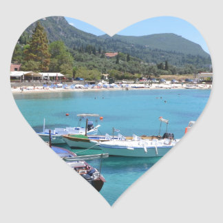 Paleokastritsa Beach, Corfu Heart Sticker