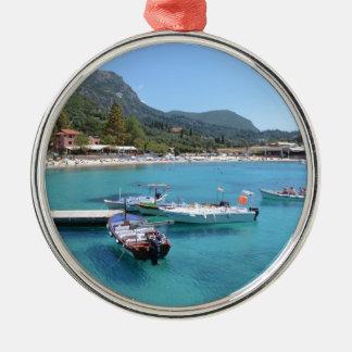 Paleokastritsa Beach, Corfu Metal Ornament