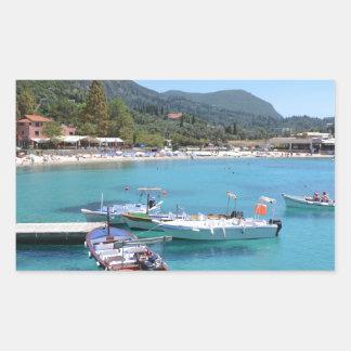 Paleokastritsa Beach, Corfu Rectangular Sticker
