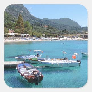 Paleokastritsa Beach, Corfu Square Sticker