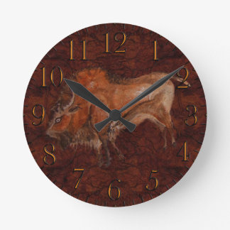 Paleolithic Bison Cave Painting Art Round Clock