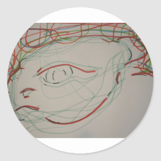 Paleolithic Lives Lines Classic Round Sticker