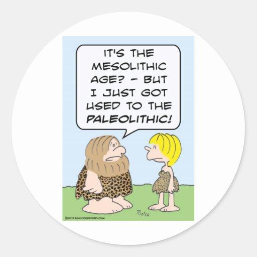paleolítico mesolítico del hombre de las cavernas pegatina redonda
