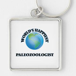Paleozoologist más feliz del mundo llavero cuadrado plateado